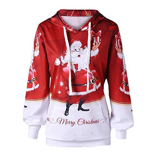 PeiZe Womens Merry Christmas Plus Size Pocket Ladies Casual Santa Claus Letter Print Hoodie Sweatshirt -
