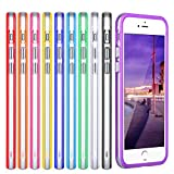 iPhone 6S Bumper, iPhone 6 Bumper, Costyle 10pcs/lot 10 Colors Clear Slim Bumper Cover Skin Case w/ Metal Buttons For iPhone 6 6S 4.7 Inch-Black White Pink Purple Orange Yellow Blue Deep Blue Red Rose
