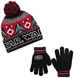Star Wars Little Boys' Darth Vader Intarsia Knit Cuff Pom Beanie and Glove Set, Black/Red, One Size