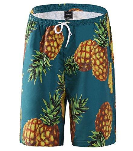 Fanhang Men and Women Outdoor Board shorts With Fruit Printing (XXL, Pineapple printing)