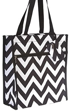 World Traveler Black Zig Zag Chevron Travel Tote Bag 12-inch