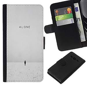 KLONGSHOP // Tirón de la caja Cartera de cuero con ranuras para tarjetas - Invierno Profundo Blanco Cita Emo Sad - Samsung Galaxy A3 //