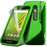 ONX3® ( Green ) Motorola Moto X Play Case Custom Made S Line Wave Gel Case Skin Cover With LCD Screen Protector Guard, Polishing Cloth & Mini Retractable Stylus Pen