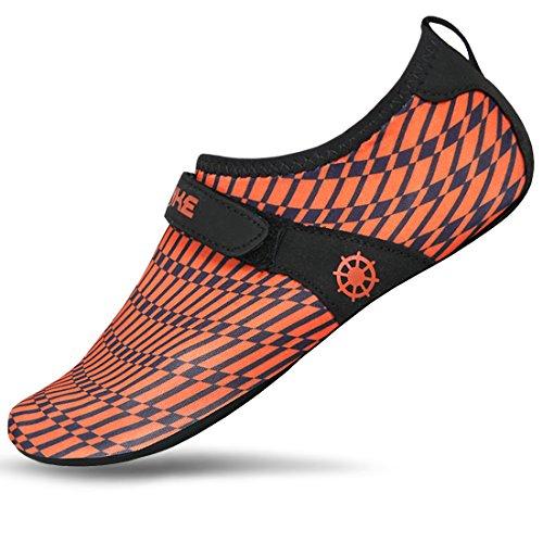 JustOneStyle NBERA Barfuß Flexible Wasserhaut Schuhe Aqua Socken für Beach Swim Surf Yoga Übung Orange