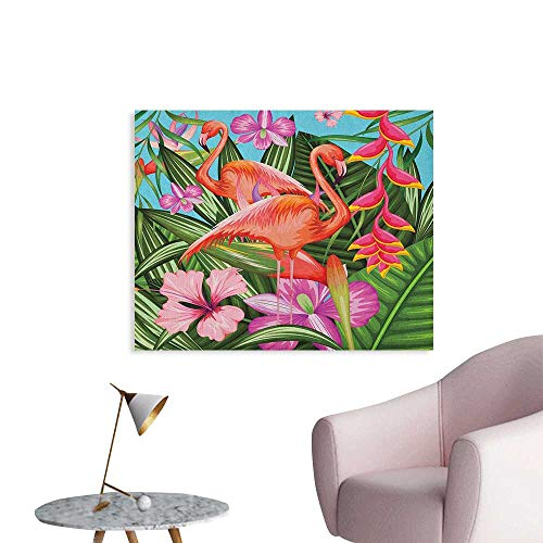 Anzhutwelve Flamingo Photographic Wallpaper Illustration of Flamingo with Tropical Garden Hibiscus Flower Plant Vintage Funny Poster Green Pink Blue W36 xL24