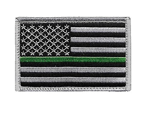 Pennant Patch - US Flag Thin Green Line Patch for Park Rangers, US Border Patrol, and Environment Services Personnel with Hook/Loop Backing