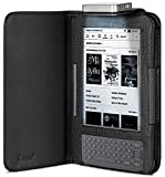 GreatShield Premium Leather Flip Case Cover with Built-in LED Light for Amazon Kindle 3G (Fits Kindle Keyboard) - Black