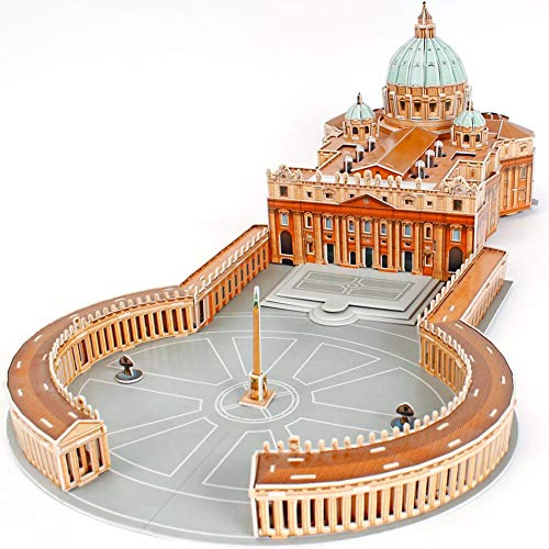 CubicFun 3D Italy Puzzles Cathedral Architecture Rome Building Church Model Kits Toys for Adults, St. Peter's Basilica, 144 Pieces