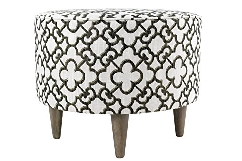 Sole Design Sophia Collection Contemporary Upholstered Round Living Room Ottoman With Geometric Pattern, Off White/Brown