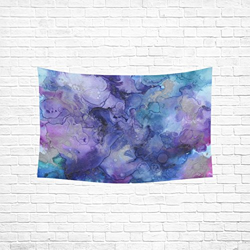 WUTMVING Tapestry Ink Swirl Blue Purple Abstract Hippie Tapestries Wall Hanging Flower Tapestry Wall Hanging Dorm Decor For Living Room Bedroom 60 X 40 Inch (Ink Blue Multi)