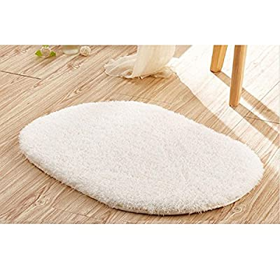 "Ladaidra Bath Mat, Non Slip Bottom Soft Comfortable Washable Cushion, 19.69"" x 11.81"", Beige"