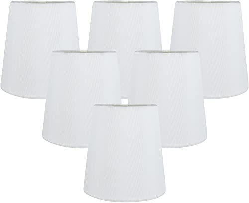 MERIVILLE Set of 6 Off White Faux Silk Clip On Chandelier Lamp Shades, 3.5-inch by 4.5-inch by 4.5-inch