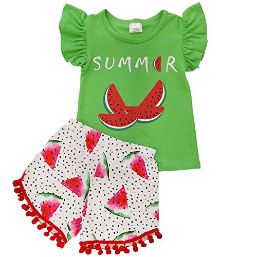 So Sydney Girls Toddler Pom Pom Novelty Summer Pool Beach Vacation Shorts Outfit (2T (XS), Watermelon Summer) ()