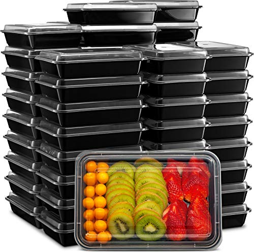 Ez Prepa [45 Pack] 28oz Single 1 Compartment Meal Prep Containers with Lids - Food Storage Containers Bento Box, Lunch Containers, Microwavable, Freezer, and Dishwasher Safe, Food Containers ()
