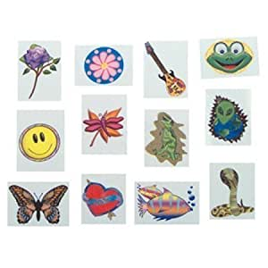 Temporary tattoos 144 pack assorted beauty for Fake tattoos amazon
