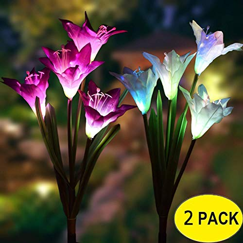 Outdoor Solar Garden Pile Light, Solar Flower Light - 2 Pack 8 Lily, Multicolor Change LED Solar Piling Light for Lawn, Courtyard, Backyard, Halloween Decorations (Purple and White) ()