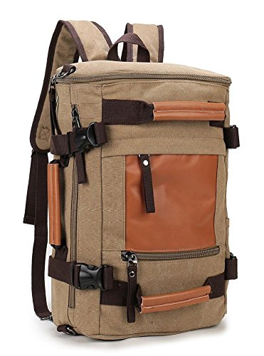 Weekend Shopper Canvas Camping Rucksack Vintage Backpack for Men and Women to Travel Hiking Khaki