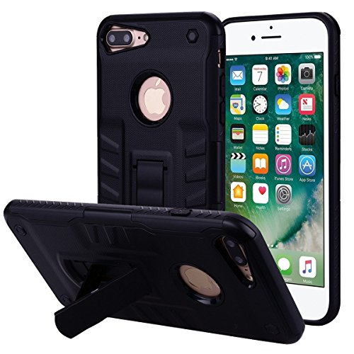 - UBERANT iPhone 8 Plus Case, Dual Layer Hybrid Slim Fit Rugged PC Kickstand Protection Textured Grip Black Cover Case for iPhone 8 Plus/iPhone 7 Plus 5.5