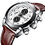 mens white dial luxury watches - CIVO Mens Chronograph Watches Multifunctional Waterproof Date Calendar Luxury Business Casual Dress Analogue Quartz Wrist Watch for Men with Brown Genuine Leather Band White Dial (Brown)
