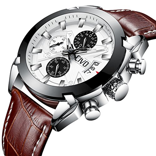 CIVO Mens Chronograph Watches Multifunctional Waterproof Date Calendar Luxury Business Casual Dress Analogue Quartz Wrist Watch for Men with Brown Genuine Leather Band White Dial - In Men Glasses Style What For Are
