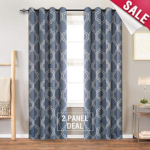 Blackout Curtains for Bedroom 84 inches Long Moroccan Tile Printed Blue Curtains for Living Room Window Curtain Panels Room Darkening Curtains, Grommet Top, 2 Panels (Bedroom Moroccan)