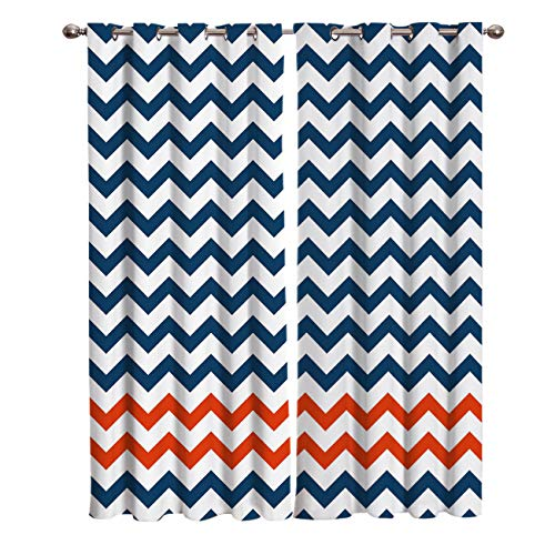 (FunDecorArt Blackout Curtains, Blue Red Ripple White Background Polyester Shade Curtains, 2 Panel Drapes/Window Treatment for Bedroom/Living Room/Office/Teen Room, 104 W x 63 L inches)