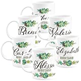 Personalized Bridesmaid Coffee Mug Gifts with Name and Title - 11oz - Wedding Favors,Party Favors, Bridesmaid Gifts, Housewarming Gifts - Design 4 - Set of 6