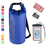 LED Camping Lantern - Waterproof Dry Bags - Floating Compression Stuff Sacks Gear Backpacks for Fishing Boating Kayaking Canoeing Snowboarding - Free Universal Water Proof Phone Case and Pocket Tool (Dark Blue, 20L)