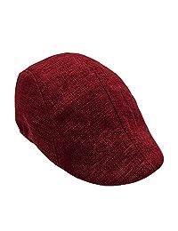 Xiaoa Hat for Men Classic Herringbone Tweed Wool Blend Flat Cap Ivy Gatsby Cabbie Driving Hat