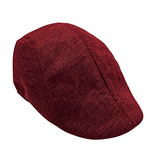 BCDshop Beret Newsboy Hat Men Women Flat Gatsby Ivy Golf Cap Retro Visor Sunhat (Wine Red)