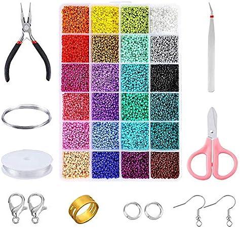Lopbinte Kit de Cuentas, 24 Cuentas de Semillas Artesanales de Colores Variados con Caja Organizadora y Otras Herramientas para Hacer Joyas, ElaboracióN de Cuentas (2Mm X 1Mm)
