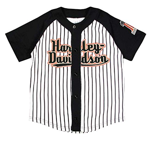 Button Front Game Jersey (Harley-Davidson Little Boys' Striped Baseball Jersey, Black & White 1082637 (7))
