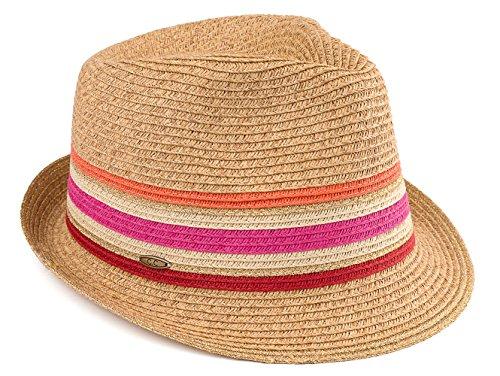 H-6108-32424 Fedora Sun Hat - Pink Stripes]()
