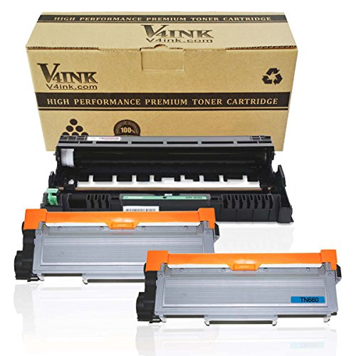 V4INK (1PK Drum + 2PK Toner) New Compatible Brother DR630 Drum Unit + Compatible Brother TN630/TN660 Toner Cartridge Black High Yield Combo Set