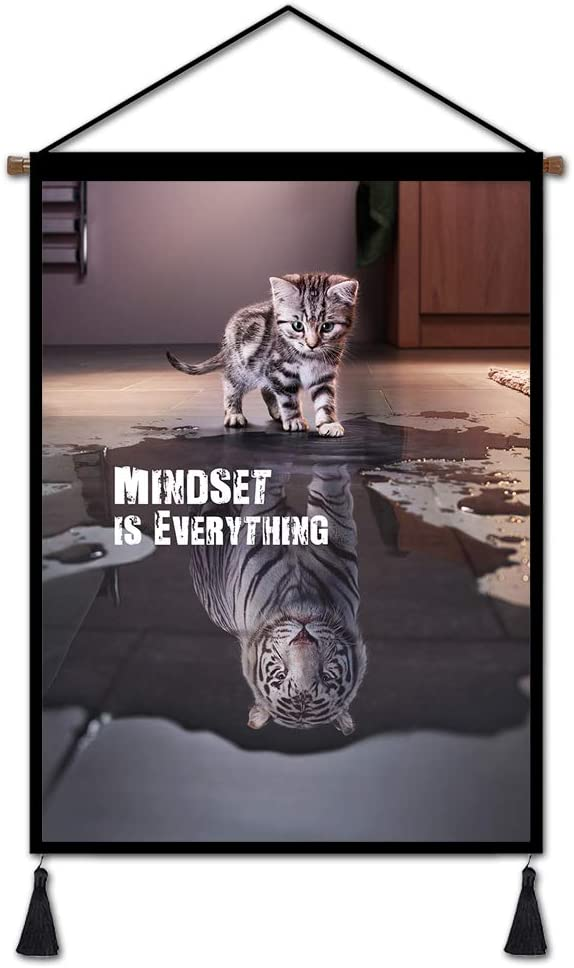 "Mindset is Everything Canvas Wall Art Motivational Hanging Poster Inspirational, Entrepreneur Quotes Poster Small Cat Pictures Big Tiger Print Artwork Painting for Living Room Bedroom Office 18""x26"""