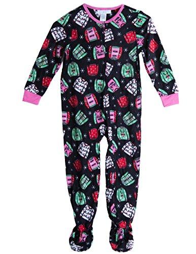 Caramel Cantina Big Girls One Piece Footed PJ Fleece (Medium/7-8, Sweaters)