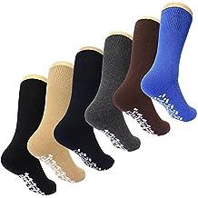 Diabetic Non Skid Slipper Socks /w Grippers for Men - 6 Pairs