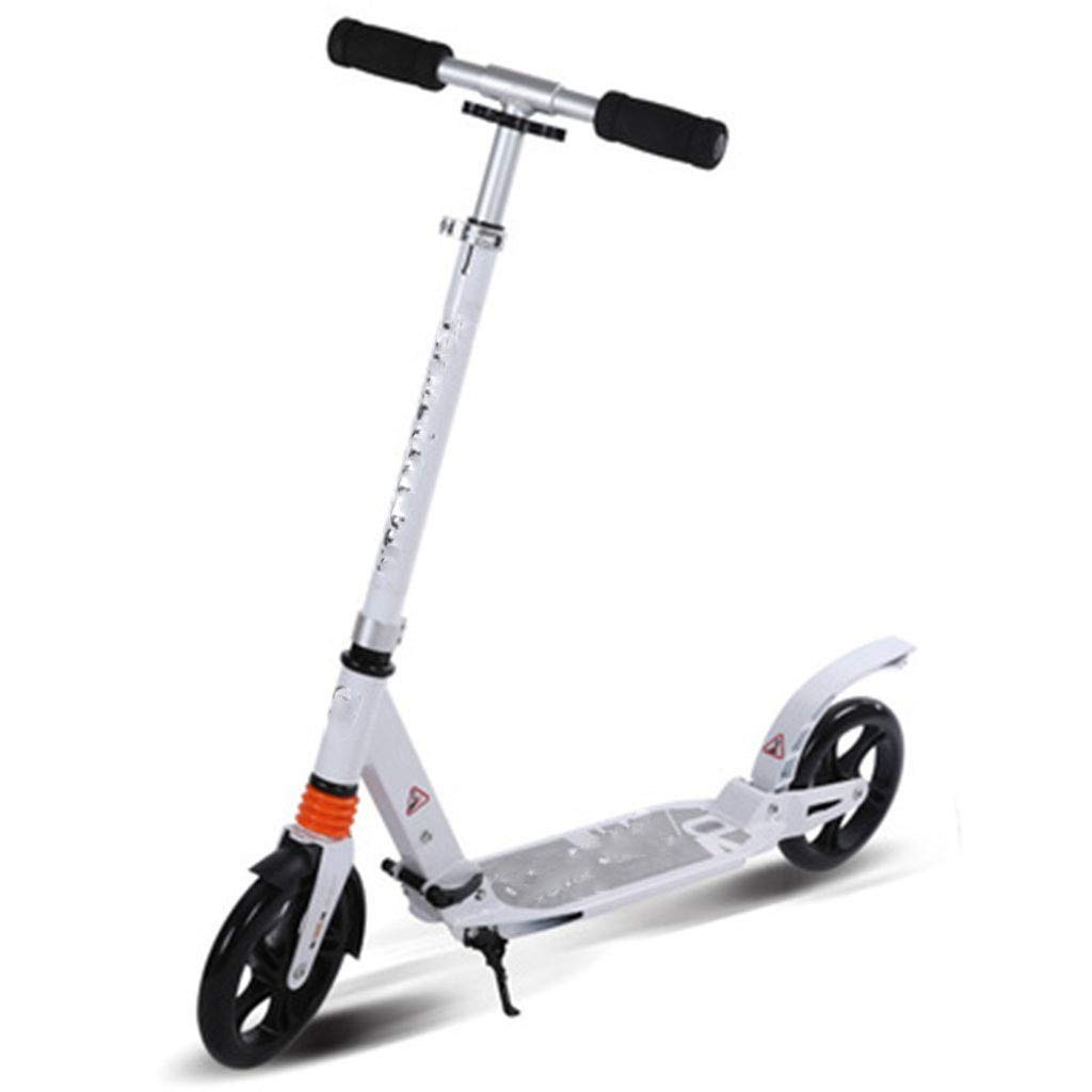 FDSjd Adult Scooter All-Aluminum Alloy Big Wheel Two-Wheeled Scooter Speed 10 (km/H) (Color : White)