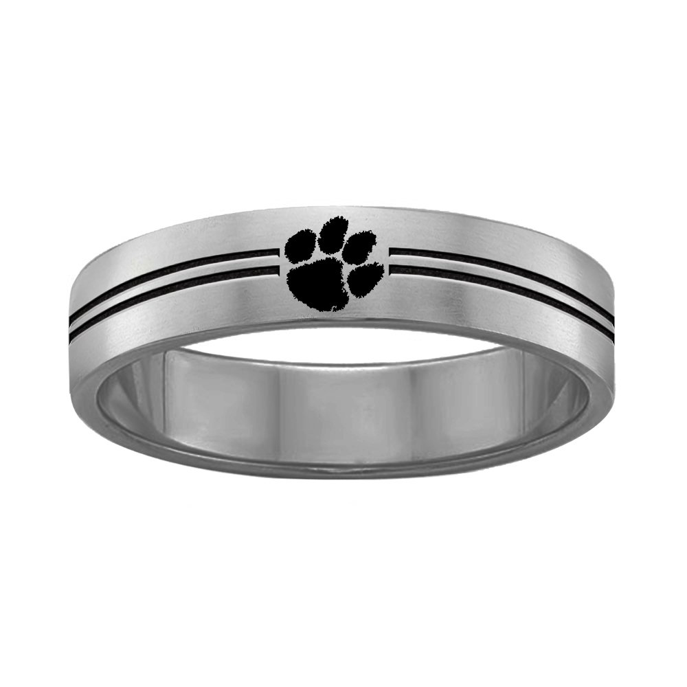 College Jewelry Clemson University Tigers Rings Stainless Steel 8MM Wide Ring Band Double Line Style