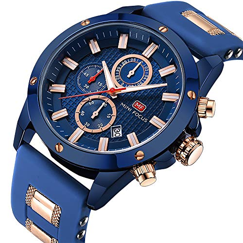 Men's Analog Quartz Chronograph Watch with Date Luminous Waterproof Blue Silicone Band Fashion Casual Dress Wrist Watches