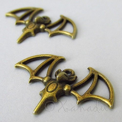 Bat Charms - 33mm by OutletBestSelling Antiqued Bronze Halloween Pendants 10 Pcs