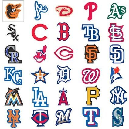 MLB Major League Baseball Team Logo Stickers Set of 30 Teams 4