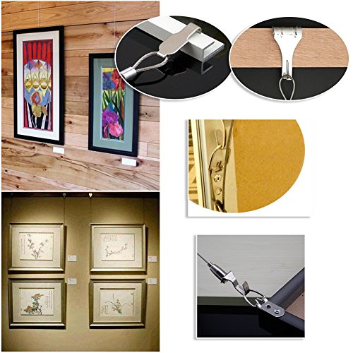 Pack of 2Sets Professional Art Hanging System Gallery Large Picture/Billboard/Painting/Art Exhibition Display Kit - Adjustable Photo Hanging - 39'' Stainless Steel Cable by Blue Handcart (Image #4)