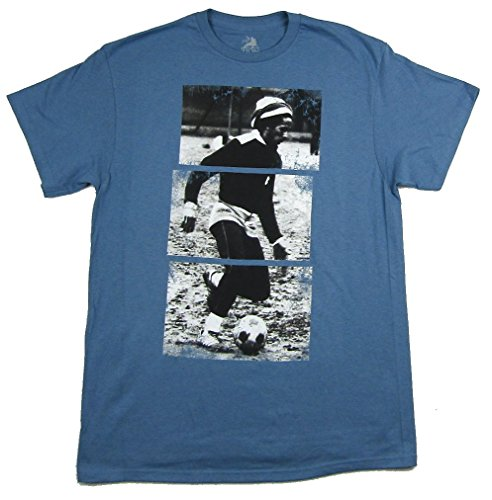 Bob Marley Football - Bob Marley Soccer Image Blue T Shirt Zion Rootswear (XL)