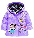 EGELEXY Cartoon Peppa Pig Flower Baby Girls Kids Rain Coat Jacket Coat Hoodie Outwear 3-4T Purple