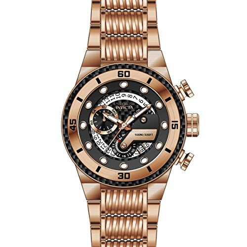 Invicta 25283 Men's S1 Rally Black Carbon Fiber Dial Rose Gold Steel Bracelet Chronograph Watch