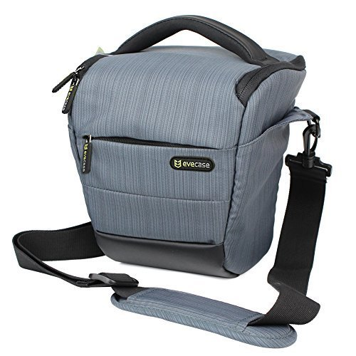 Camera Case Evecase Digital SLR/DSLR Professional Camera Shoulder Holster Bag For Compact system, Hybrid, Mirrorless, Micro 4/3 and High Zoom Camera - Gray