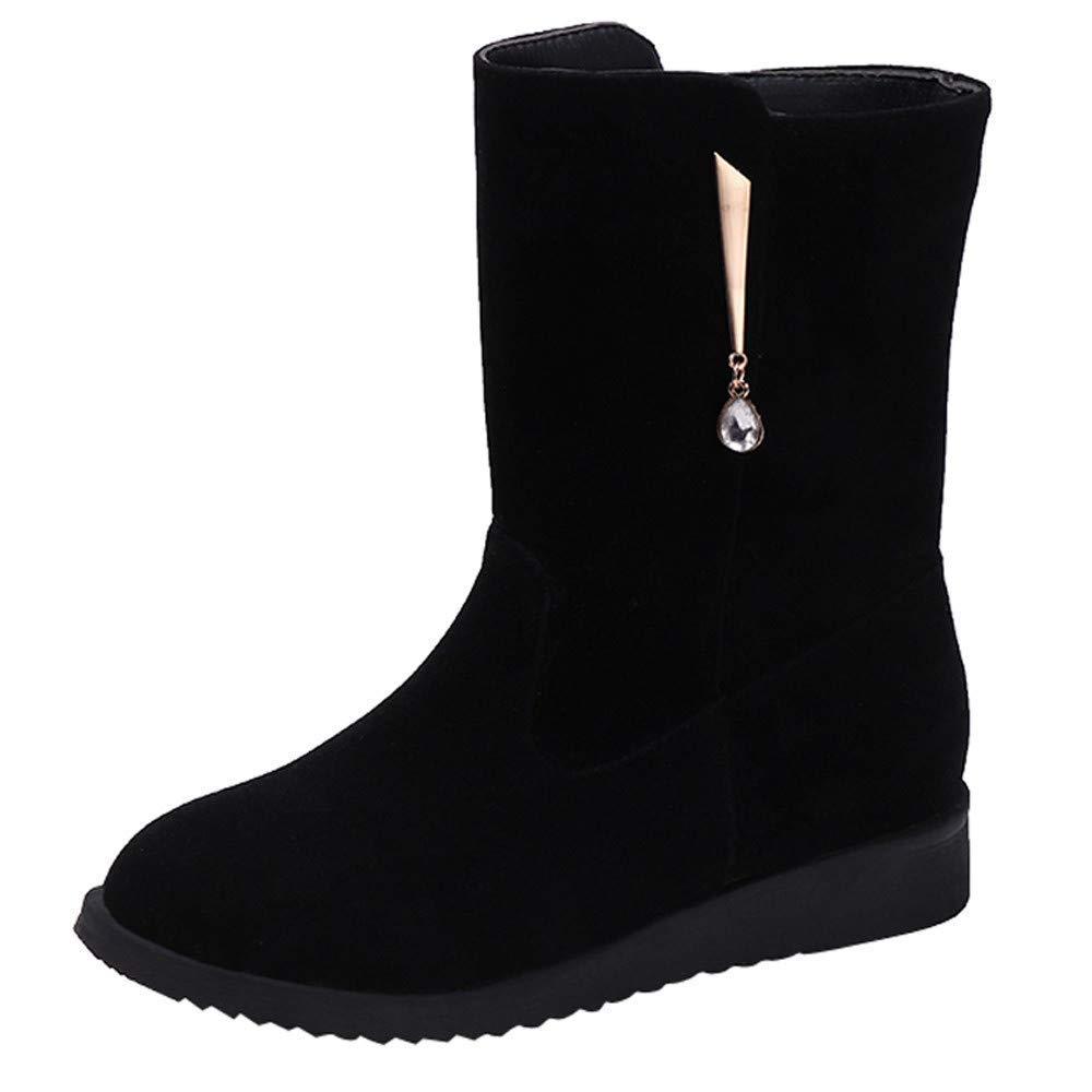 ZHRUI Stiefel Damen Schuhe Stiefeletten Frauen Flache Rhinestone Freizeitschuhe Middle Tube Wildleder Martin Stiefel Schuhe Reißverschluss Stiefel (Farbe   Schwarz Größe   CN 42=EU 43)
