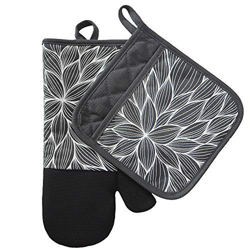 Heat Resistant Hot Oven Mitts & Pot Holders for Kitchen Set With Cotton Neoprene Silicone Non-Slip Grip Set of 2, Oven Gloves for BBQ Cooking Baking, Grilling, Machine Washable (Gray-1 Neoprene) ()