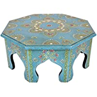 Handpainted Work Design Round Wooden Bajot Table 14 X 14 X 6 Inches